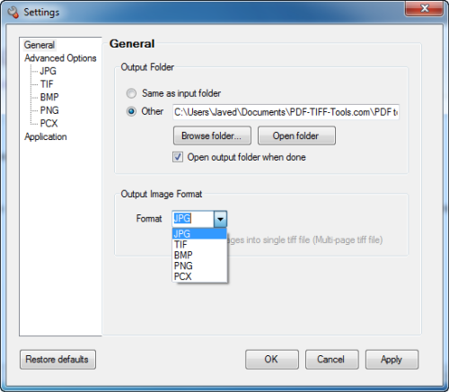 PDF to Image Options Screen